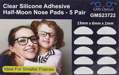 GMS Optical® Premium Silicone 3M Adhesive Half Moon Nose Pads for Glasses, Sunglasses, and Eye Wear - 13mm x 6mm - Ideal for Smaller Frames - 5 Pair (Clear)