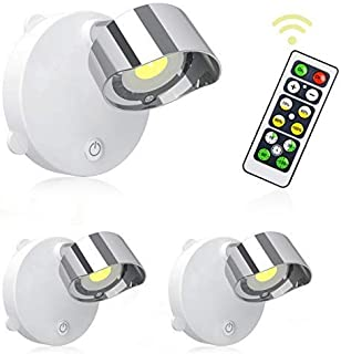 Lightess LEDライト スポットライト キッチンライト ライティング 間接照明 電池式 工事不要 リモコン付き 展示ライト ホワイト ワイヤレス 角度調節可能 回転可能 天井 室内照明 2個セット (電球色)
