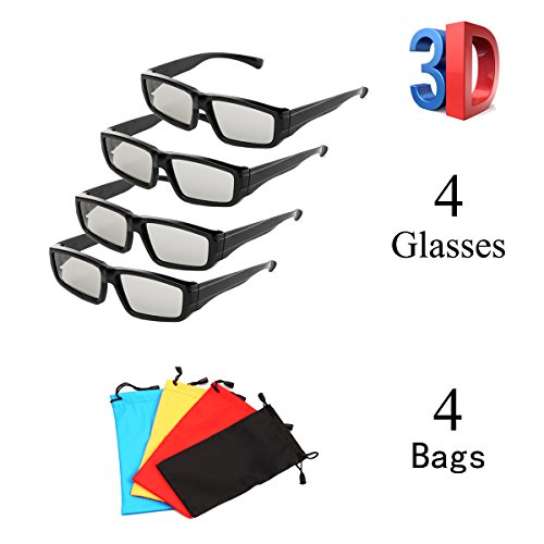 4 Pack Passive Circular Polarized RealD 3D Glasses for Cinema and Passive 3D TVs Projectors, Note: Does Not Work with Active 3D TVs Projectors