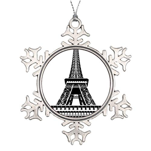 Xmas Trees Decorated Black white Eiffel Tower Paris France Art Artwork Hanging Snowflake Ornaments Xmas Tree Baubles Hanging Pendants for Christmas Decorations