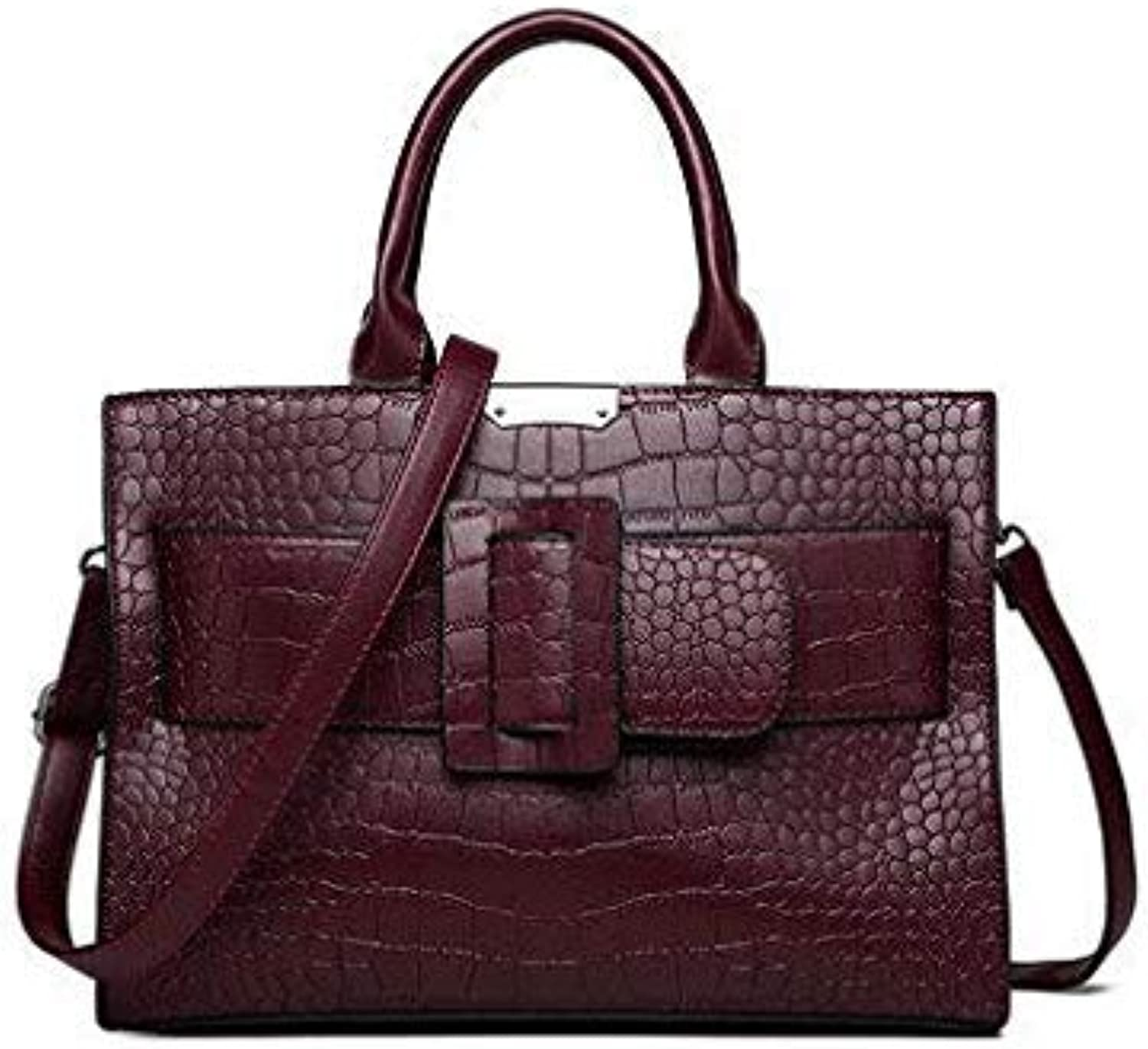 Bloomerang Crocodile Bags Women Handbags Famous Brand Luxury Designer High Quality Pu Tote Bag Ladies Leather Shoulder Hand Bags women color Wine red 32x23cm
