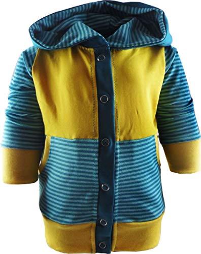 KLEINER FRATZ gestreifte Baby/Kinder Kaputzen Jacke mit Bauchtasche (Farbe Petrol-türkis/gelb) (Größe 60/66)