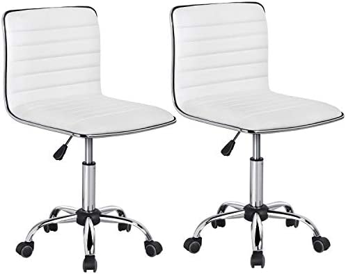 Yaheetech Adjustable Task Chair PU Leather Low Back Ribbed Armless Swivel Desk Chair Office product image
