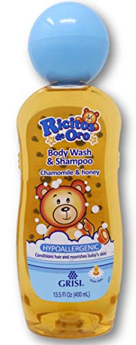 Chamomile and Honey Ricitos de Oro Body Wash and Shampoo   Hypoallergenic Body Wash for Sensitive Skin, Cleansing Shampoo with Chamomile and Honey Extract; 13.5 Fl Ounces