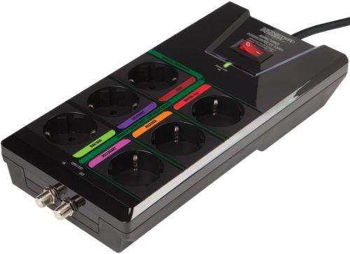 Monster AV 550G+ PowerCenter Steckdosenleiste (6 Steckdosen, 1 Koaxial) mit Überspannungsschutz
