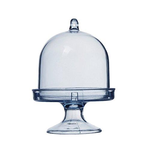 STOBOK 12pcs Mini Soporte para Tarta Pasteles Campana Campana de Cristal (con Plato, Bodas y Fiestas–Bandeja (Cielo Azul)