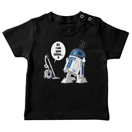 T-Shirt bébé Noir Parodie Star Wars - R2-D2 - R2. Je suis Ton père ! (en VO remasterisée !) (T-Shirt de qualité Premium de Taille 6 Mois - imprimé en France)