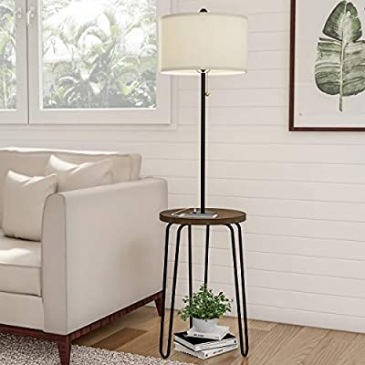 Lavish Home 72-LMPWT-4 Floor Lamp End Mid Century Modern Style Side Table, Hairpin Legs, Drum Shape Shade, LED Light Bulb Included & USB Charging Port, Multi-Color
