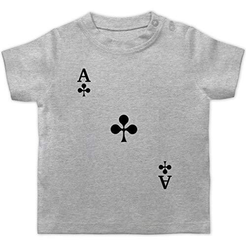 Karneval und Fasching Baby - Spielkarte Kreuz - 1/3 Monate - Grau meliert - Verkleidung Kostüm - BZ02 - Baby T-Shirt Kurzarm