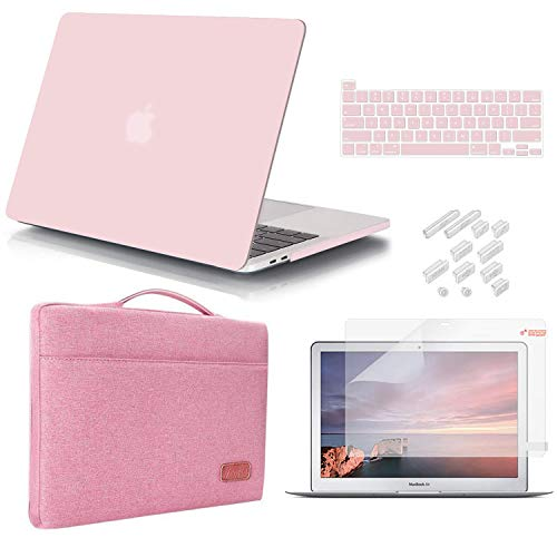 iCasso MacBook Pro 13 Inch Case 2020 Release Model A2338M1 /A2251/A2289 Bundle 5 in 1, Hard Shell Case, Sleeve, Screen Protector, Keyboard Cover&Dust Plug Compatible MacBook Pro 13'' - Rose Quartz