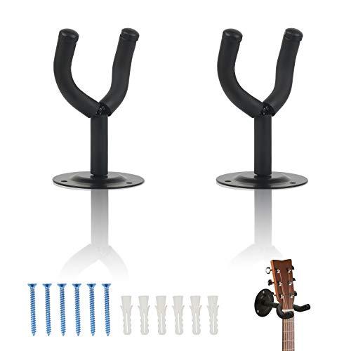 TAZEMAT 2Packs Guitar Hanger Soporte de montaje en pared Universal Display Hook Instrumentos musicales Black Acoustic Guitar Guitar Hanger para bajo Mandolin Banjo Ukulele