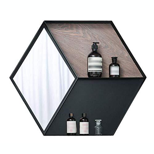 LYN wandspiegel, badkamerspiegel, retro industriële spiegel, wandplank kubus met spiegel, zwart metalen frame, 69 cm