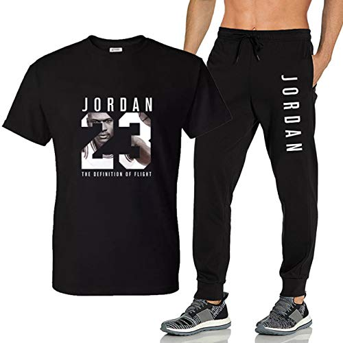 That's all T-Shirt da Uomo 23 + Pantaloni Fashion Summer Set , Magliette Sportive da Jogging Nere/Bianche per Uomo Pantaloni a Maniche Corte in Cotone Estivo Tuta di Grandi Dimensioni(S-XXL)