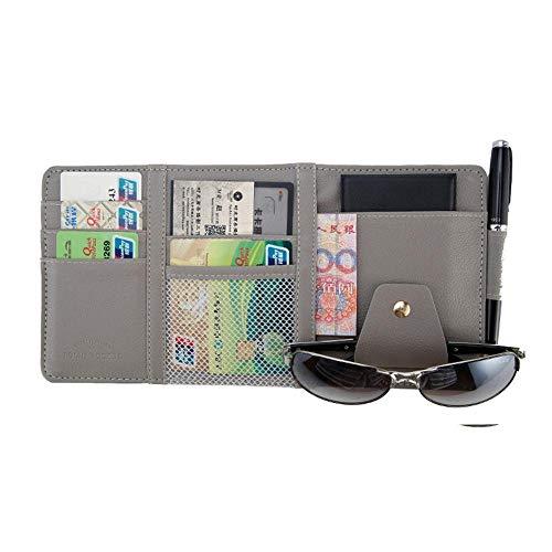 Wxlyy Auto vorm zonneklep opslag tas auto zonneklep opslag tas zonnebril frame clip air ticket tas pen houder Grijs