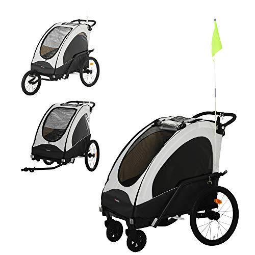 Aosom Child Bike Trailer 3 In1 Foldable Jogger Stroller Baby Stroller Transport Carrier with Shock Absorber System Rubber Tires Adjustable Handlebar Kid Bicycle Trailer White and Grey