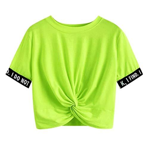 TUDUZ Damen Gestreift Crop Top Kurzarm Streifen Shirt Oberteile (S, Grün-C)