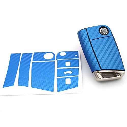 Finest Folia Schlüssel Folie VB für 3 Tasten Auto Schlüssel Folien Cover Etui Schutzhülle Schlüsselhülle (Carbon Blau)