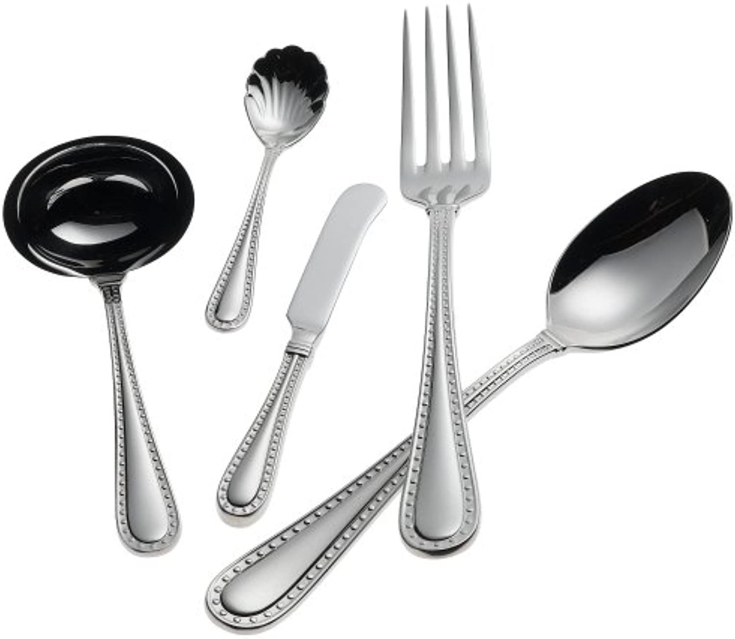 Ricci Rivets Polished 5-Piece Stainless Flatware Hostess Set