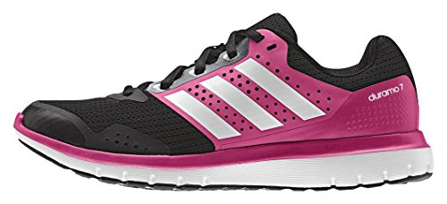 adidas Unisex-Erwachsene Duramo 7 W Laufschuhe, Negro / Blanco / Rosa (Negbas / Ftwbla / Granit), 45 1/3 EU