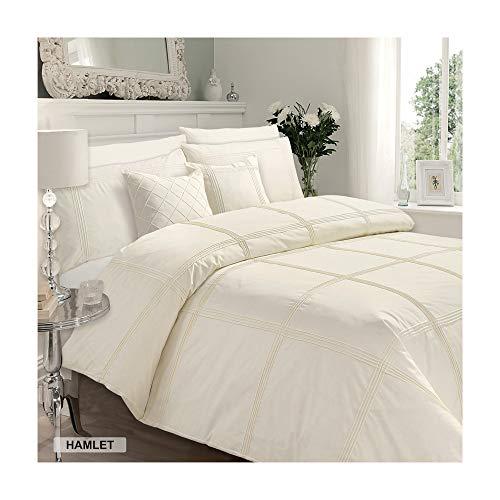 Luxury Duvet Cover King Size Kingsize with Pillowcases Quilt Bedding Set Reversible Poly Cotton, Hamlet Cream
