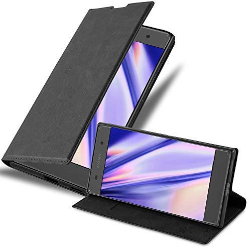 Cadorabo Hülle für Sony Xperia XA in Nacht SCHWARZ - Handyhülle mit Magnetverschluss, Standfunktion & Kartenfach - Hülle Cover Schutzhülle Etui Tasche Book Klapp Style