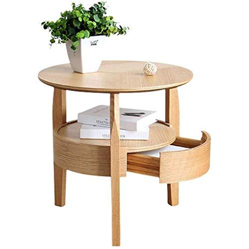 JJSFJH Einfach Wohnzimmer Round Beistelltisch Massivholz Ecktisch Log kleinen runden Tisch Sofa Beistelltisch