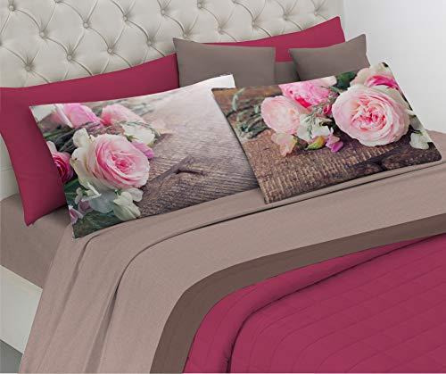 HomeLife Set Lenzuola Letto Matrimoniale Puro Cotone, Made in Italy | Completo 2 Piazze Grigio + Federe Stampa Composizione di Rose | Lenzuolo sopra 250x300 + sotto con Angoli 180x200 + Federe 52x82