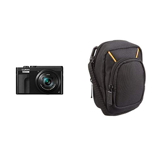 Panasonic DC-TZ91EG-K LUMIX High-End Reisezoom Kamera (Leica Objektiv, 30x Opt. Zoom, 24mm Weitwinkel, Sucher, 4K) & AmazonBasics Kameratasche für Kompaktkameras, groß