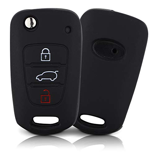 ASARAH Cover chiavi auto PREMIUM in silicone compatibile con Kia, Copertura protettiva per chiavi dell'auto, Copertina per tipo di chiave 3BKB - Nero