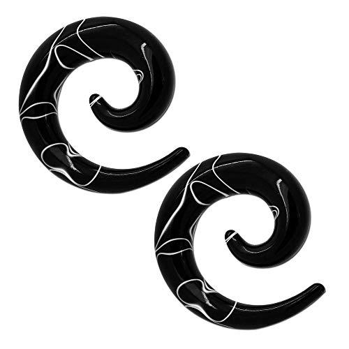 Tumundo® Dehnspirale Dehnschnecke Dehnstab Dehner Piercing Marmoriert Marmor Schwarz Plug Tunnel Acryl Expander, Größe:4mm - 2 Stück