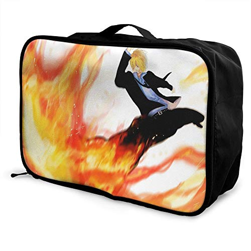 ONe Piece Four Kings Cool Paable Travel Duffel Bag Folle Carry Storage Lage Tote Lightweight Large Caity Portable Lage Bag for Suitcase Trolley Handles
