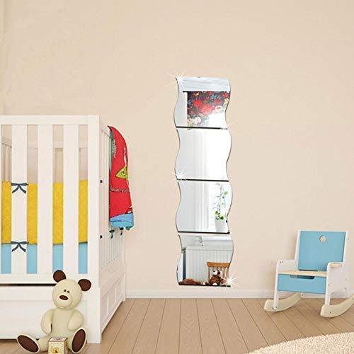 Fdit Pegatinas de pared acrílicas forma ondulada tridimensional espejo pegar para habitación decoración del hogar (# 3)