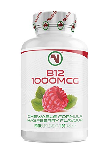 Nutriodol Vitamin B12 (Methylcobalamin) 1000 mcg Tablets | Boost Immunity |Chewable Raspberry Flavour Tablet (180)
