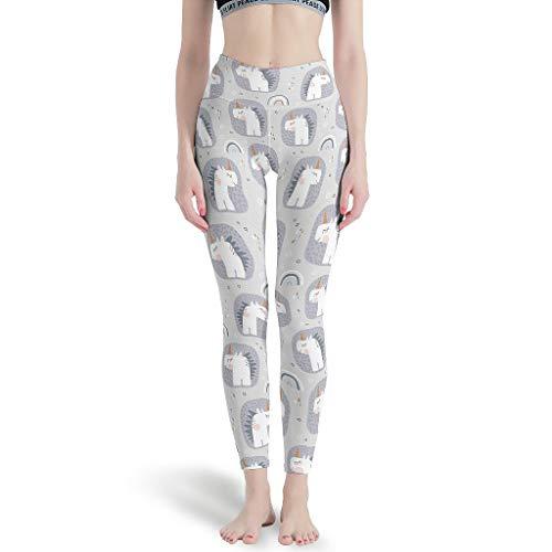 Charzee - Leggings pirata para mujer, diseño de unicornio con efecto artístico, transpirables y transpirables blanco L