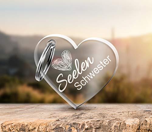 CHRISCK design Schlüsselanhänger Herz mit Gravur Seelen Schwester aus massivem Acrylglas Geschenk-Idee für die Beste Freundin zum Geburtstag Geburtstagsgeschenk für Freunde Beste Freundinnen