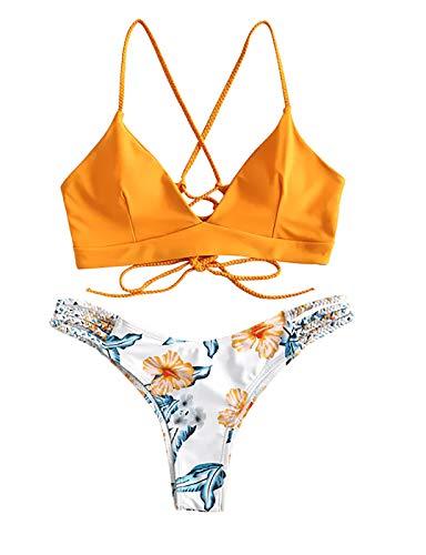 NTNY3 Mini Bikini Sexy Costumi Donna Mare Due Pezzi Push Up Imbottito Ragazza (Giallo, L)