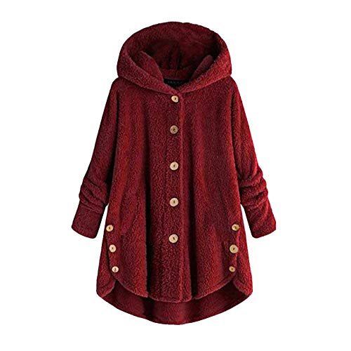 URIBAKE Women Hooded Coat Plus Size Button Plush Tops Loose Cardigan Jacket Outerwear Wine