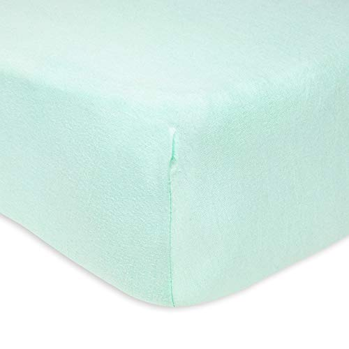 Burt's Bees Baby - Fitted Crib Sheet, Solid Color, 100% Organic Cotton Crib Sheet for Standard Crib and Toddler Mattresses (Glacier Green)