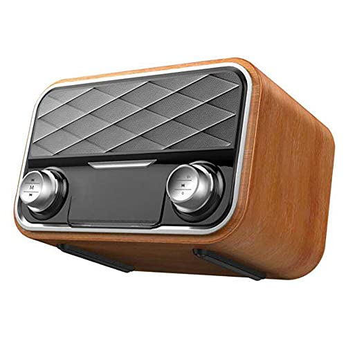 Altavoz retro Reloj despertador inalámbrico de madera Altavoz compatible con Bluetooth Radio FM Altavoces portátiles TF U Altavoz de disco