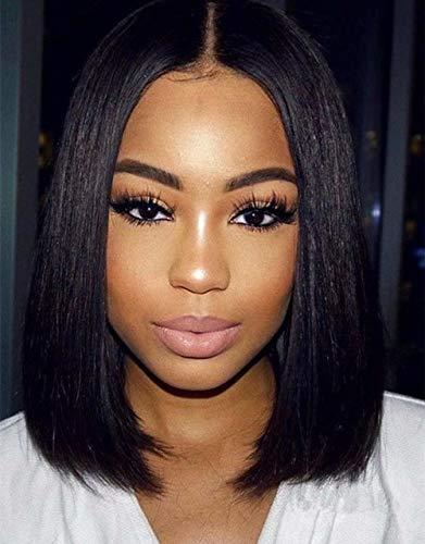 Maxine 8A - Peluca de encaje ondulado, densidad 130%, cabello humano, ajustable, pelucas con pelo de bebé para mujeres negras