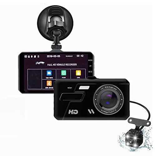 Grabadora de conducción de automóviles, Cámara de salpicadero de pantalla dual táctil 1080P de 4 pulgadas, soporte máximo 4GB ~ 32GB (no incluido)