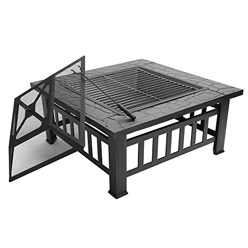 FCH 32' Outdoor Square Fire Pit with BBQ Rack, Rain Cover, Spark Screen Top and Poker Metal Firepit for Outside Backyard Patio Garden Terrace