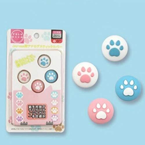 SHEAWA Cubierta de silicona con estampado de huellas de gato para el pulgar de Nintendo Switch/Lite, funda de agarre de pulgar para controlador de pata de dibujos animados (3)