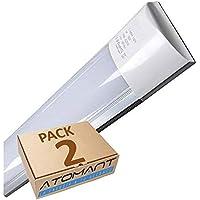 Led Atomant Pack 2X Lámpara Superficie Pantalla Carcasa, 40 W, Blanco Frío, 120 Cm