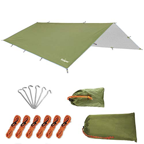 Unigear Hammock Rain Fly Waterproof Tent Tarp, UV Protection and PU 3000mm Waterproof, Lightweight for Camping, Backpacking and Outdoor Adventure (Green-300400cm)