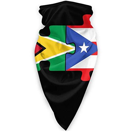 WH-CLA Polaina De Cuello Guyana Puerto Rico Flags Puzzle Motociclismo Calentador Hermoso Cuello Polaina Regalos para Mujer Navidad Sin Costuras Multifuncional Deportes Envoltura para La C