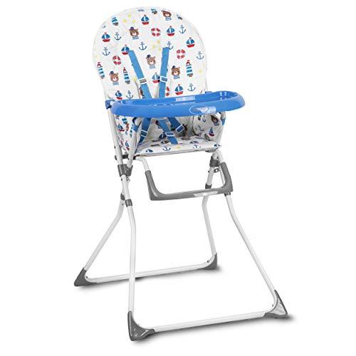 Kinderhochstuhl Hochstuhl Baby Kinderstuhl Babystuhl , Verstellbar und Klappbar, Fußstütze, Abnehmbares Tablett Polster Ricokids Fando (Blau)
