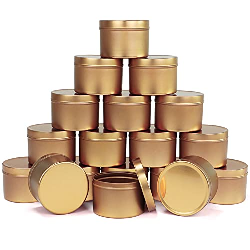 Candle Tin 18 Piece, 8 oz Candle Containers for DIY Candle Making Kit, Metal Storage Case for Dry Storage Spices, Camping, Party Favors, and Sweets Gifts, Mother's Day Gifts, Gold