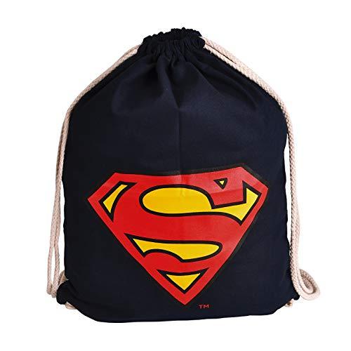 Elbenwald Superman Sportbag mit großem S Logo Symbol Frontprint 46 x 36 cm blau