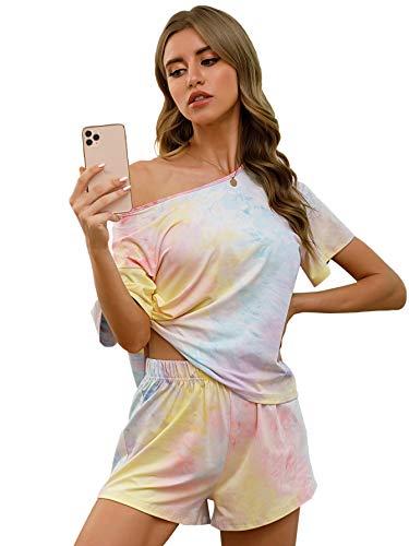 DIDK - Conjunto de pijama de manga corta con cuello redondo para mujer, 1 tinte de corbata., M